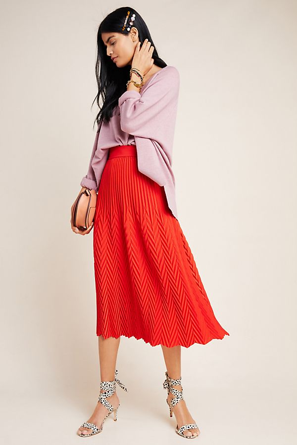 Slide View: 1: Whitley Pleated Midi Skirt