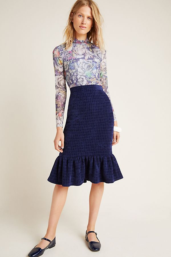 Slide View: 1: Nell Flounced Midi Skirt