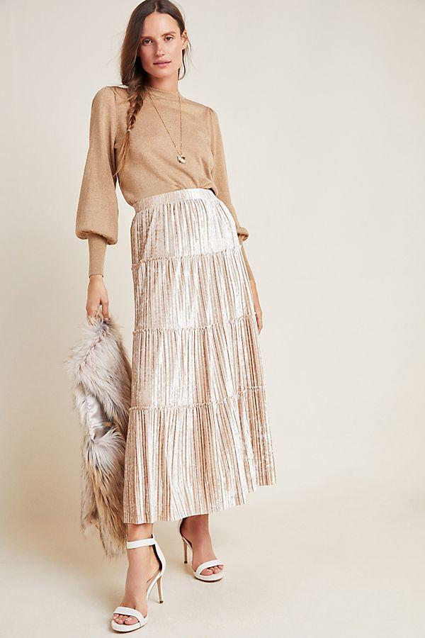 Slide View: 1: Julie Pleated Velour Midi Skirt