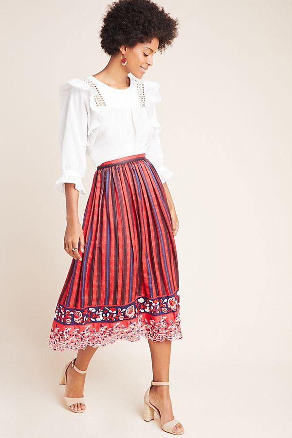 Slide View: 1: Ansel Embroidered Midi Skirt