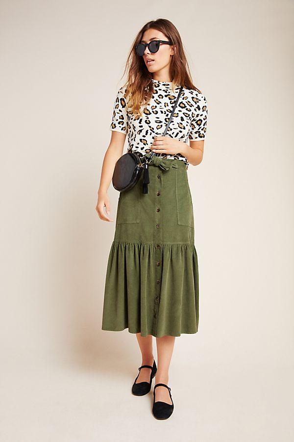 Slide View: 1: Sage Utility Midi Skirt