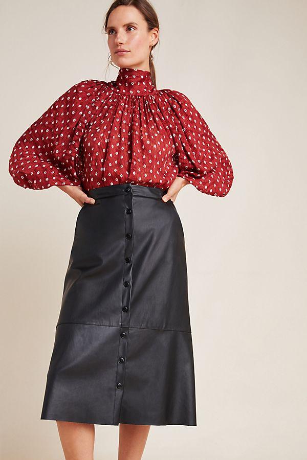Slide View: 1: Brigitte A-Line Midi Skirt