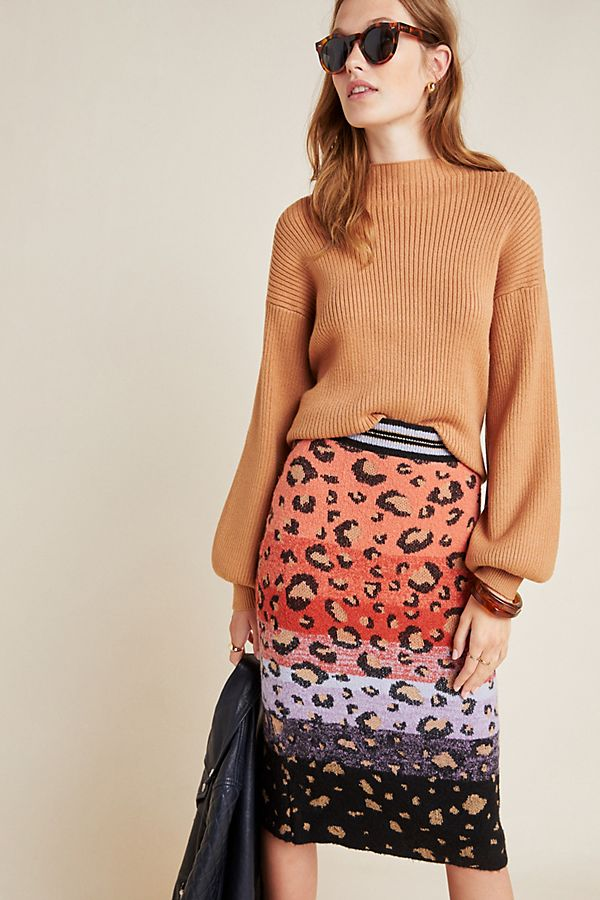 Slide View: 1: Leopard Sweater-Knit Pencil Skirt