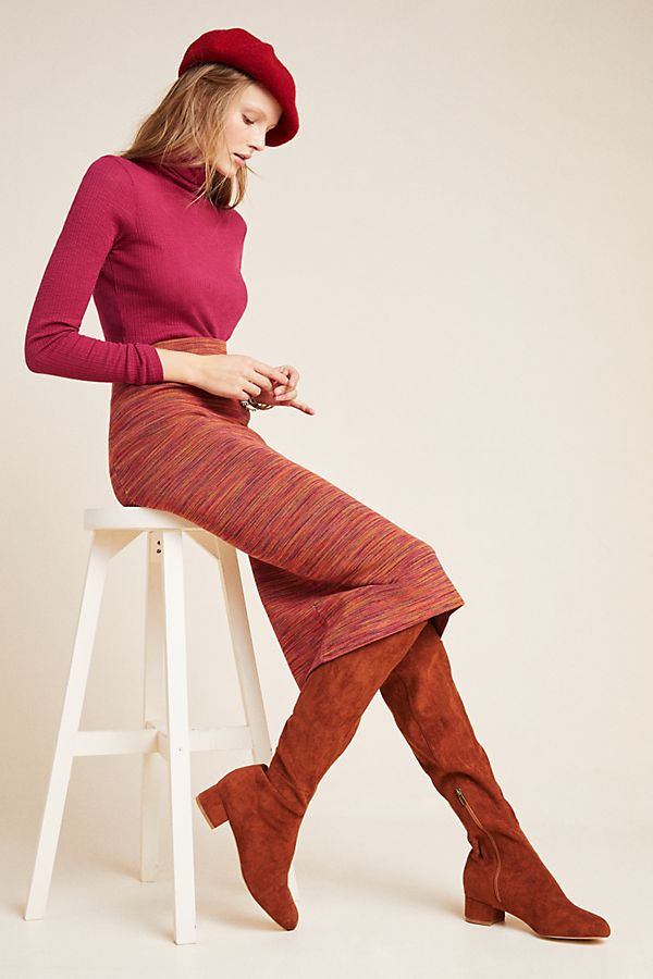 Slide View: 1: Persimmon Space-Dyed Midi Skirt