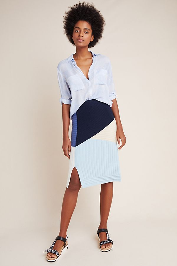 Slide View: 1: Colorblocked Sweater Pencil Skirt