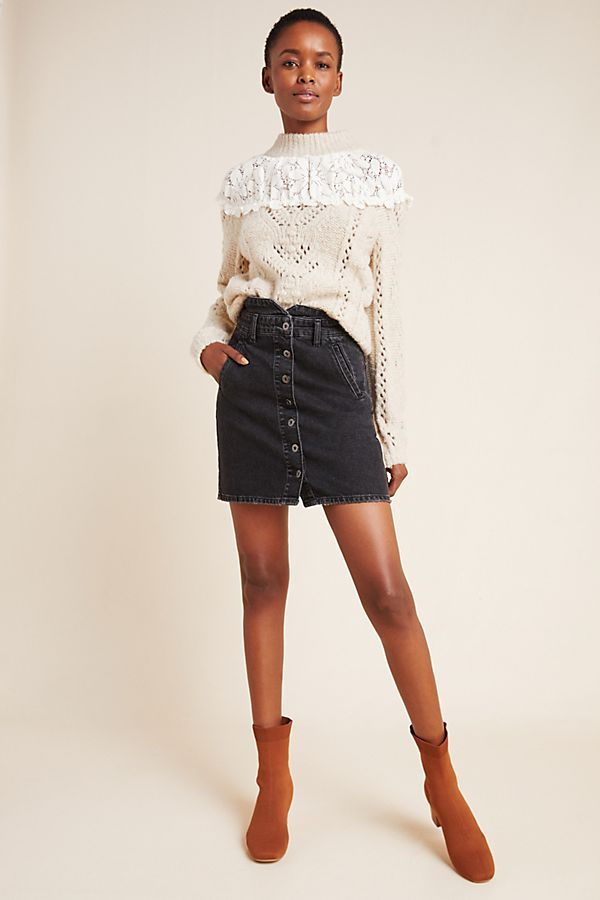 Slide View: 1: Pilcro Button-Front Denim Mini Skirt