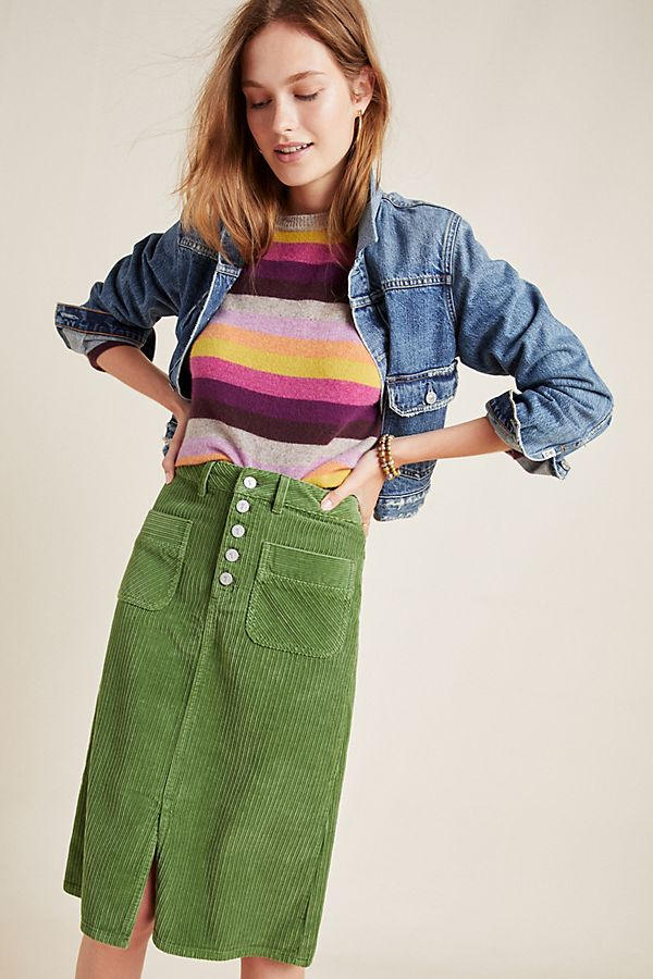 Slide View: 1: Pilcro Corduroy Pencil Skirt