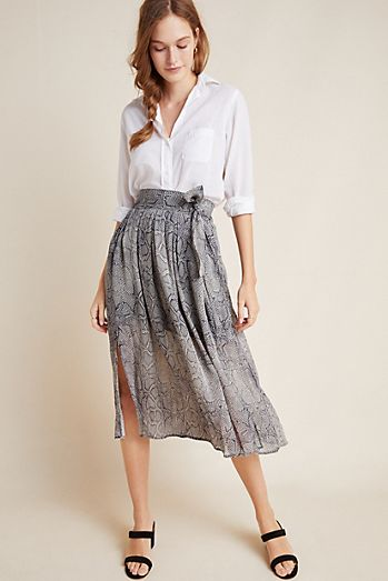 Madewell Women's Skirt Lined Flowy Pleated Blue White Size 0 Nwt Skirts Women's Clothing
