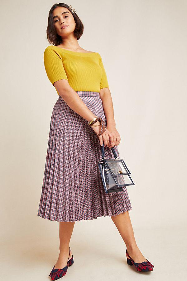 Slide View: 1: Wilma Pleated Midi Skirt