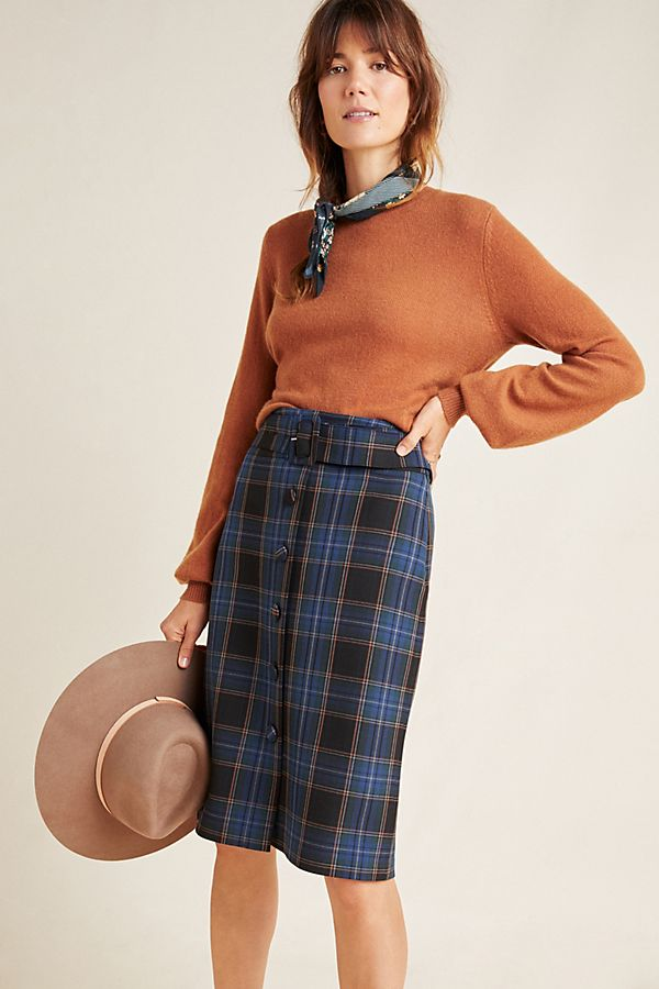 Slide View: 1: Bernadette Button-Front Midi Skirt