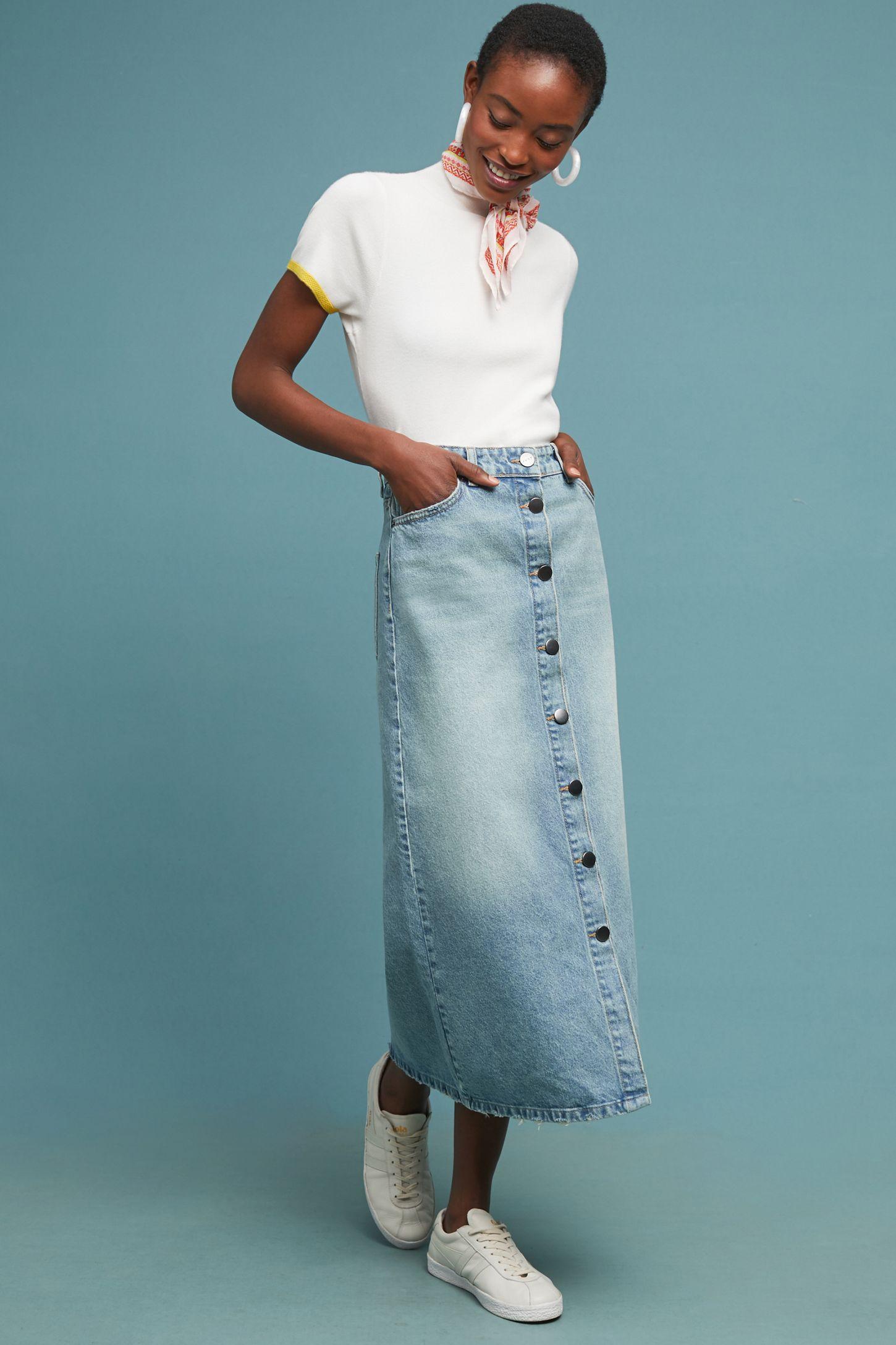 a7e3b1fe45edd Denim Button-Front Midi Skirt