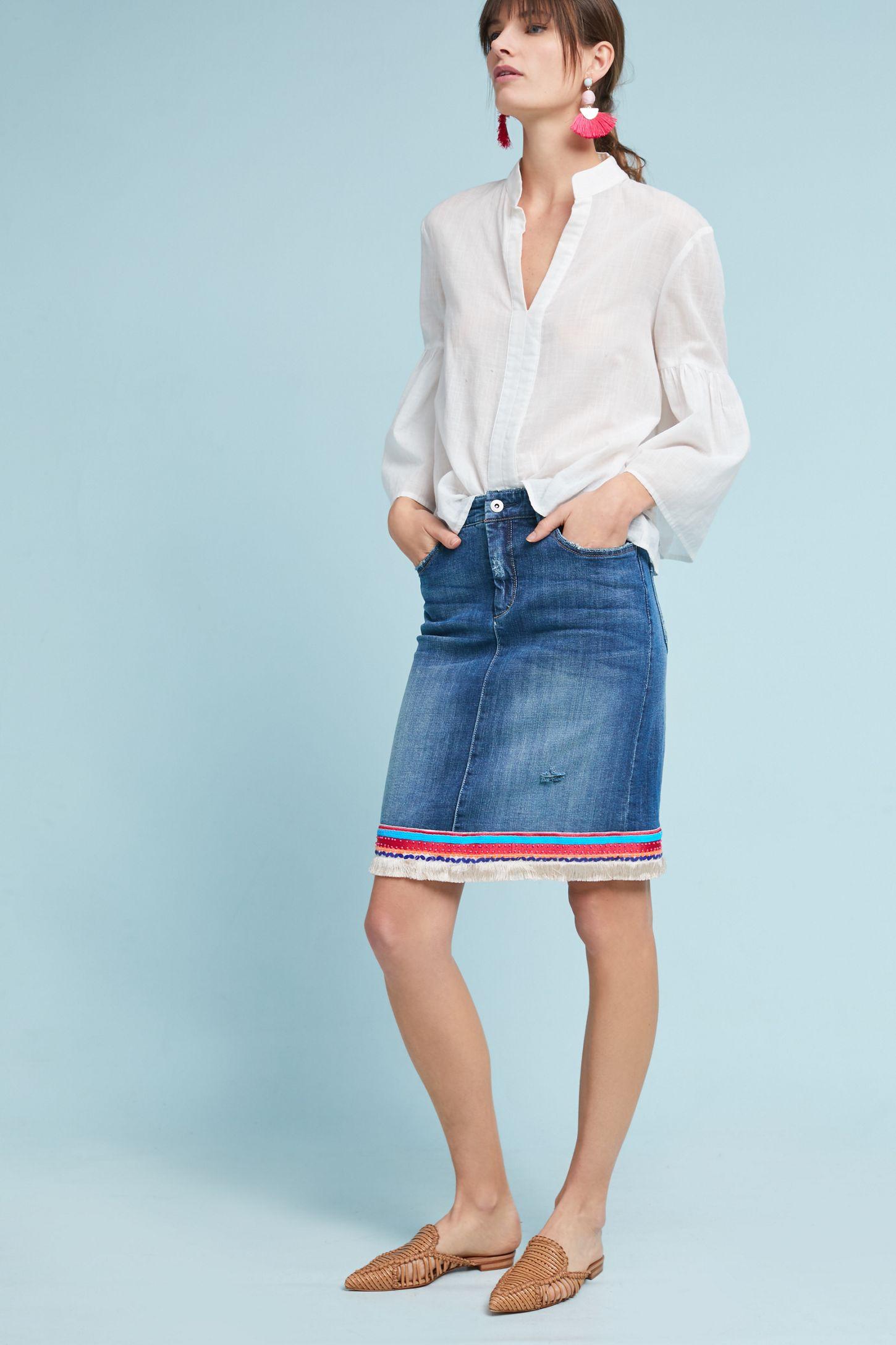 5c88049ec8f Pilcro Trimmed Denim Skirt