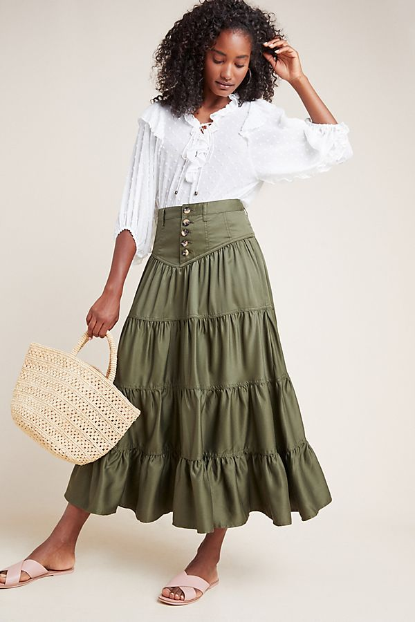 Slide View: 1: Lainey Tiered Maxi Skirt