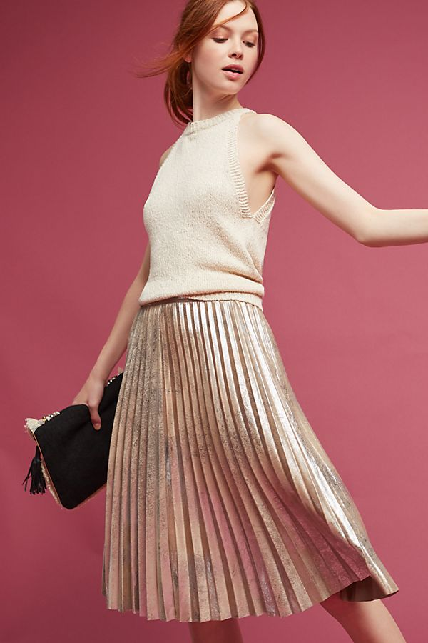 54f949e1f7 Pleated Metallic Skirt | Anthropologie