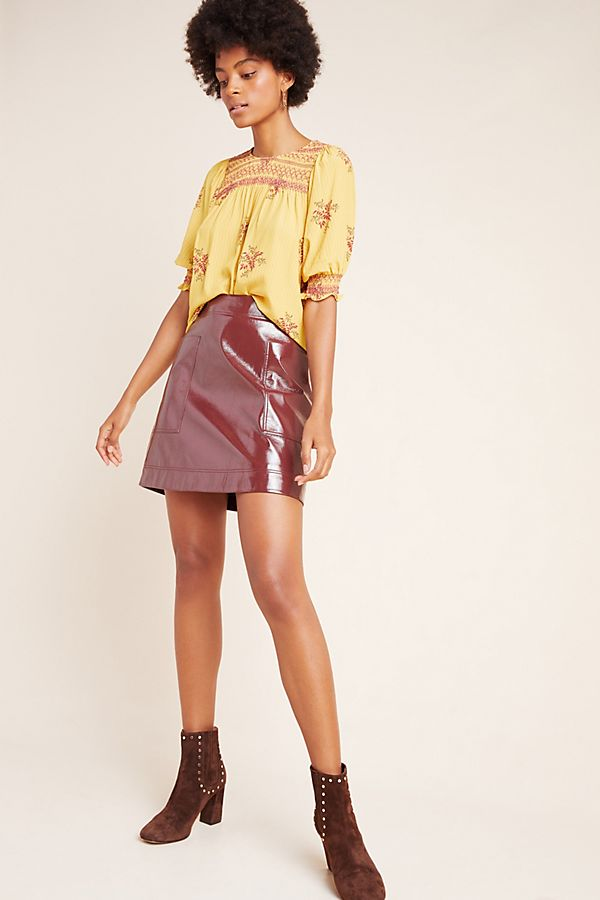 Slide View: 1: Faux Patent Leather Skirt