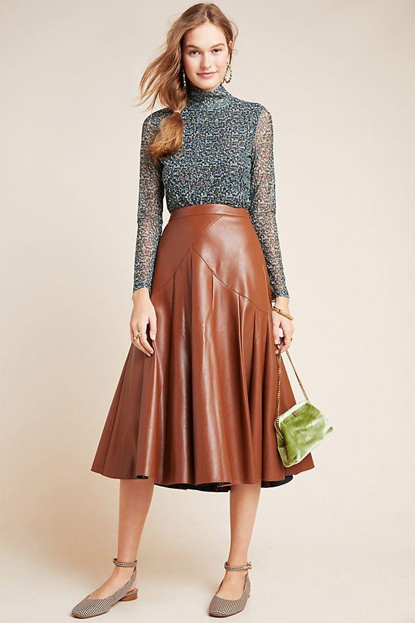 Slide View: 1: Mariska Faux Leather Midi Skirt