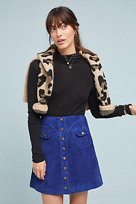 Button Front Mini Skirt by Anthropologie