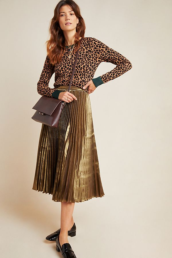 Slide View: 1: Caron Pleated Metallic Midi Skirt