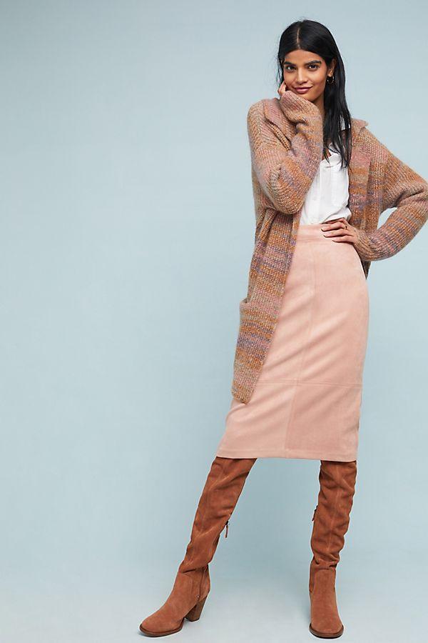 513e60d2e2b1 Faux Suede Midi Skirt