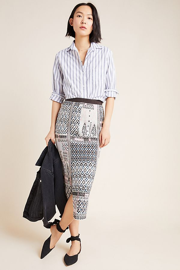 Slide View: 1: Avery Embroidered Pencil Skirt