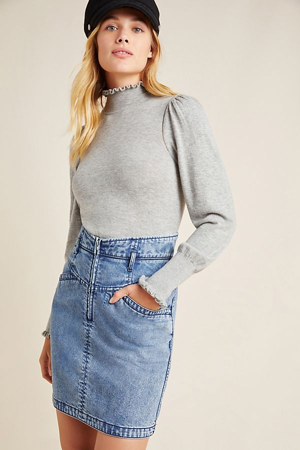 Slide View: 1: Louise Washed Denim Pencil Skirt