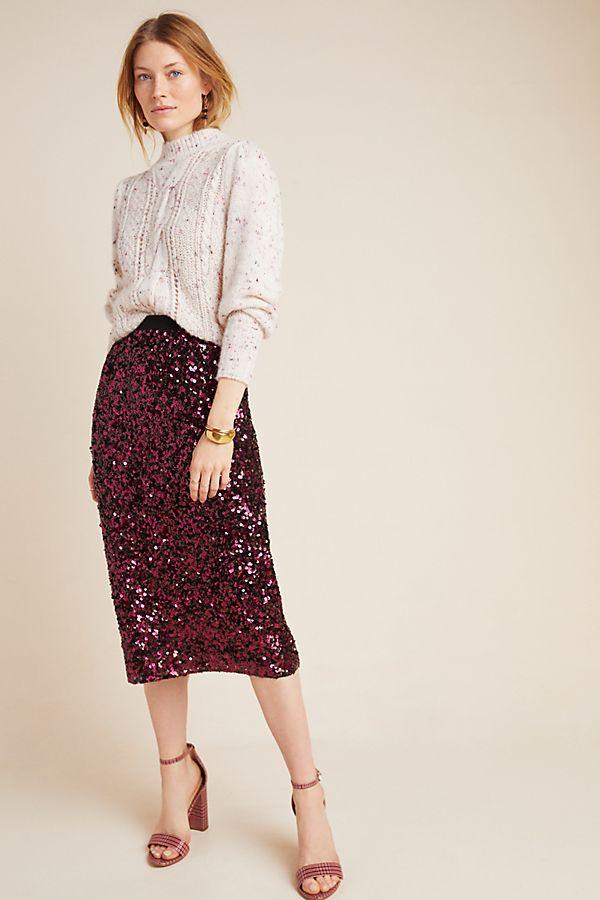 Slide View: 1: Rebecca Taylor Sequined Midi Skirt