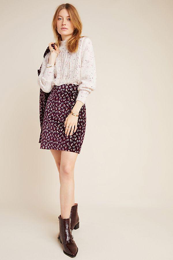 Slide View: 1: Antibes Velvet Mini Skirt