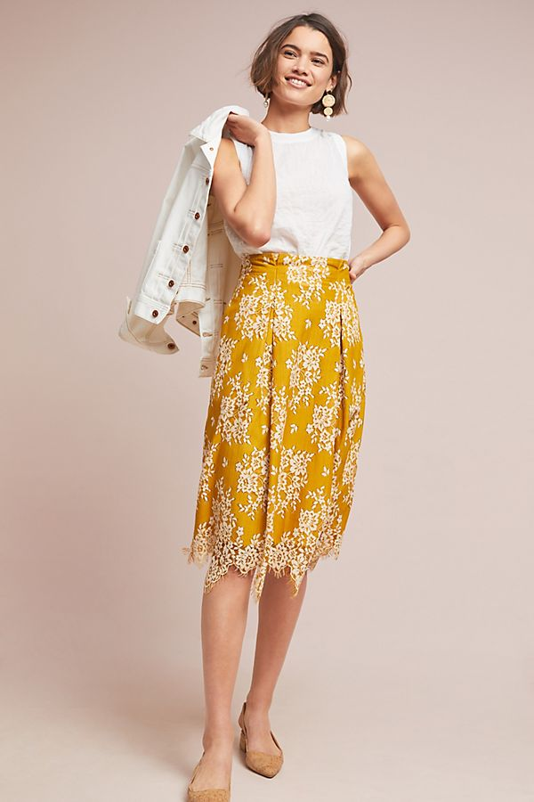 Slide View: 1: Isabella Lace Pencil Skirt