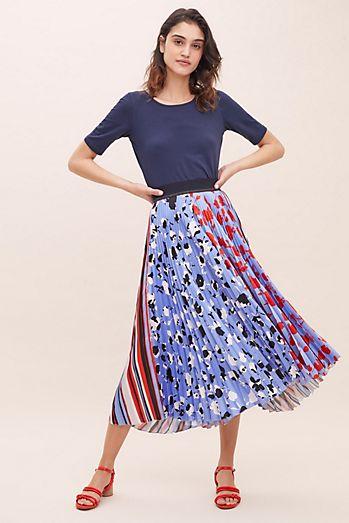 b701e79cb62 Esther Mixed Print Pleated Midi Skirt
