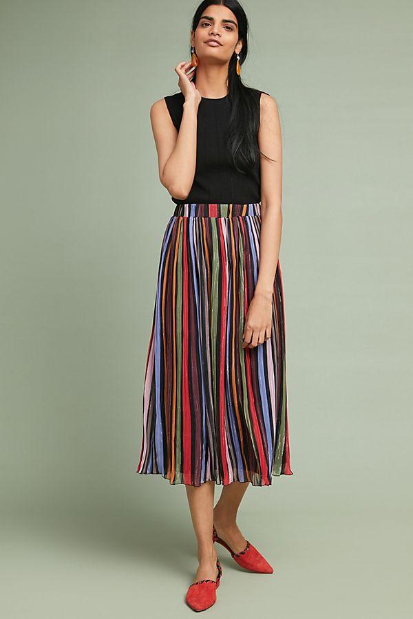 e65a28c93fd Rainbow-Striped Midi Skirt   Anthropologie