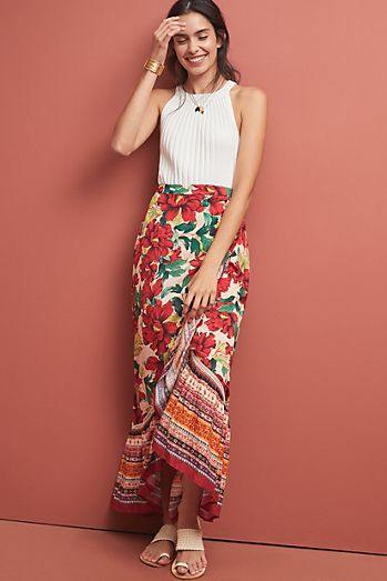 Farm Rio Wrapped Floral Skirt 4f663b11149a