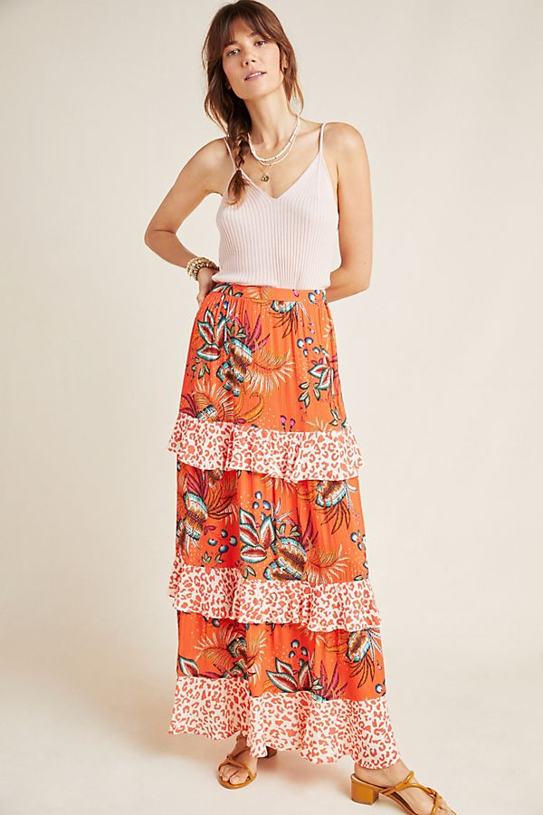 Slide View: 1: Farm Rio Amabella Tiered Maxi Skirt