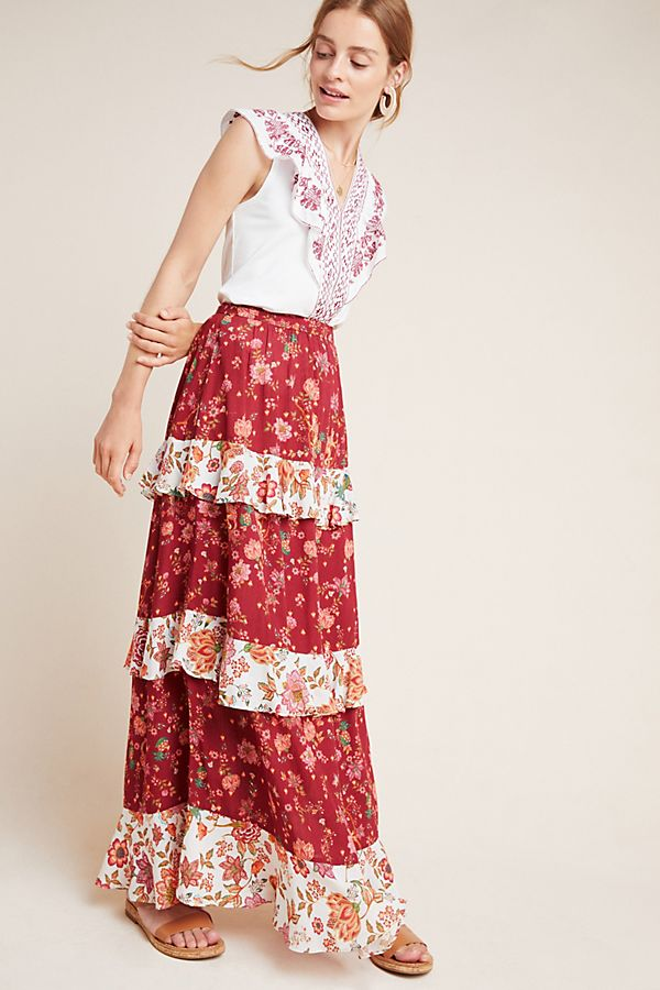 Slide View: 1: Farm Rio for Anthropologie Portia Tiered Skirt