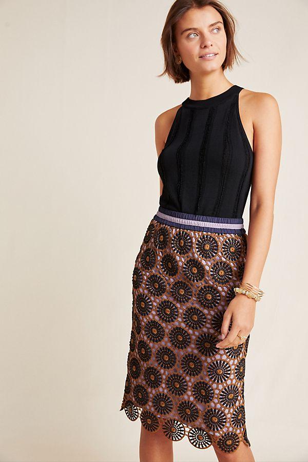 Slide View: 1: Loire Lace Pencil Skirt