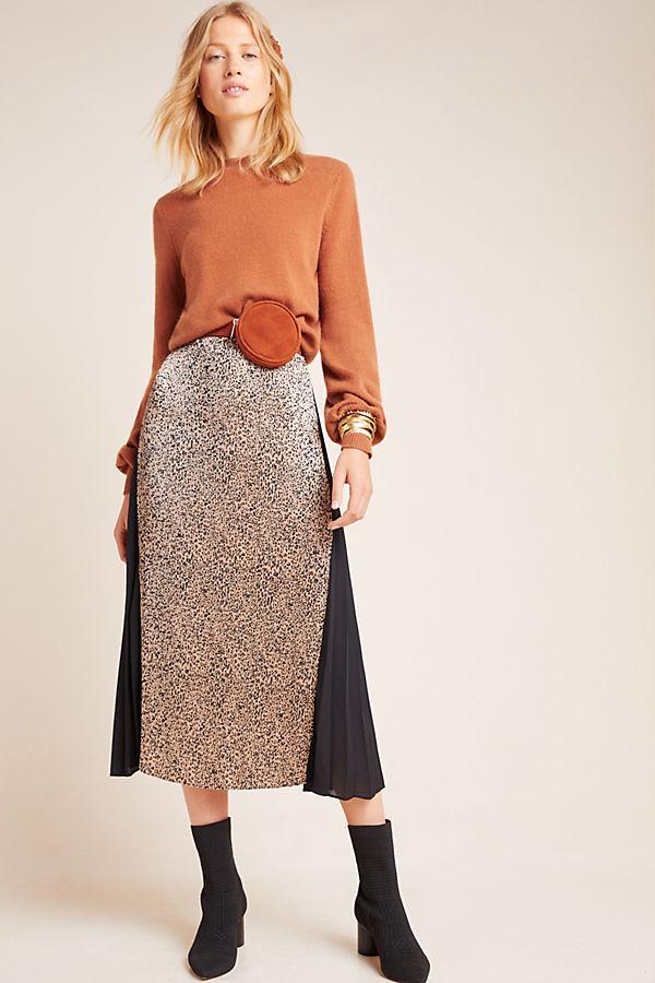Slide View: 1: Riley Leopard Midi Skirt