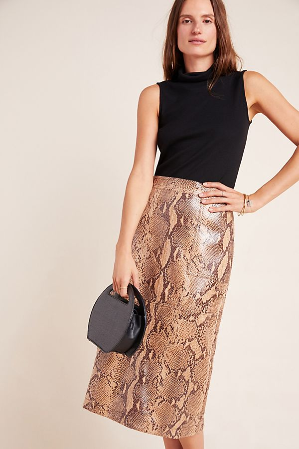 Slide View: 1: Orly Snake-Printed Pencil Skirt