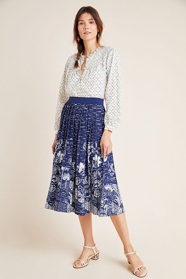 Slide View: 1: Haven Pleated Knit Midi Skirt