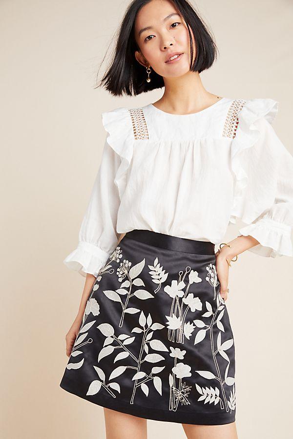 Slide View: 1: Felicita Embroidered Mini Skirt
