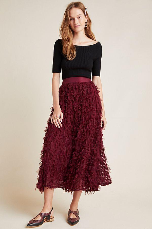 Slide View: 1: Rhapsody Textured Maxi Skirt