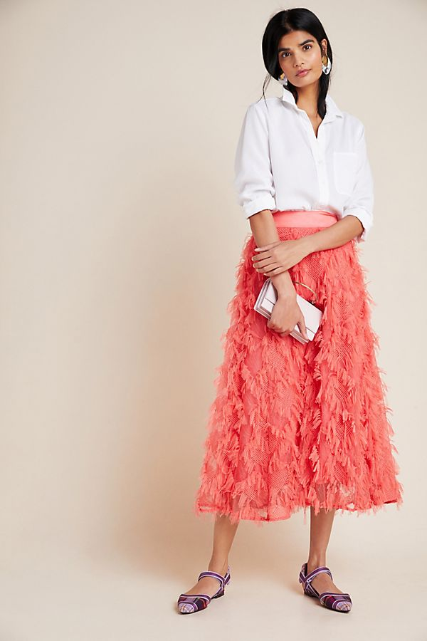 Slide View: 1: Cynthia Textured A-Line Midi Skirt