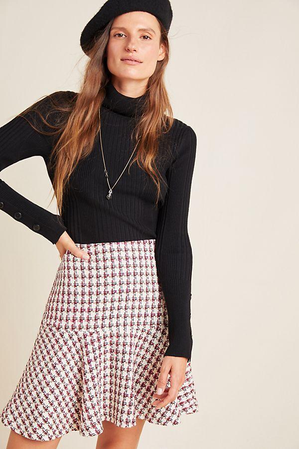 Slide View: 1: Bobbie Plaid Flounced Mini Skirt