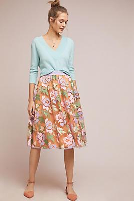 Slide View: 1: Pixilated Tulle Midi Skirt