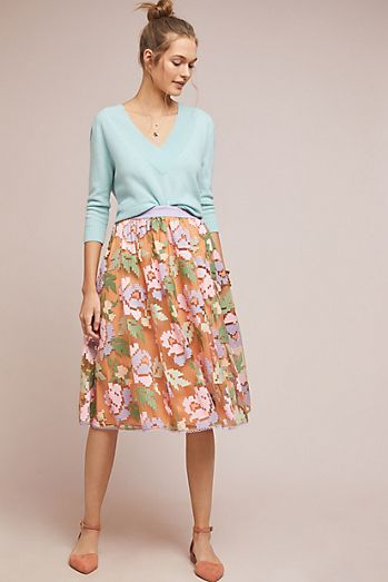 b9379d350bf7 Pixilated Tulle Midi Skirt