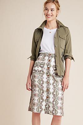 Slide View: 1: Kaleidoscope Button-Front Pencil Skirt