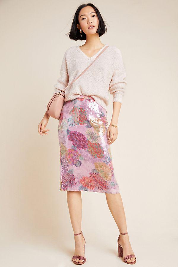 Slide View: 1: Paillette Pencil Skirt
