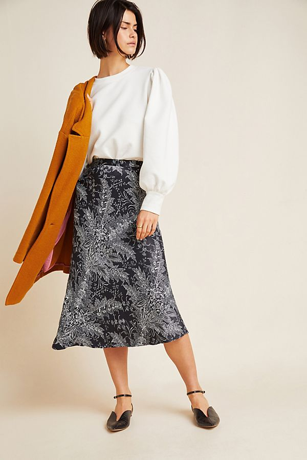 Slide View: 1: Bias Satin Midi Skirt