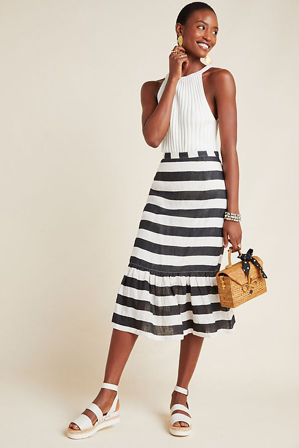 Slide View: 1: Cleo Striped Midi Skirt