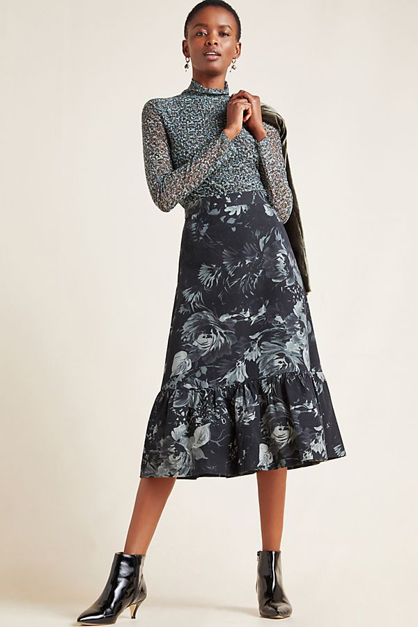 Slide View: 1: Edita Flounced Midi Skirt