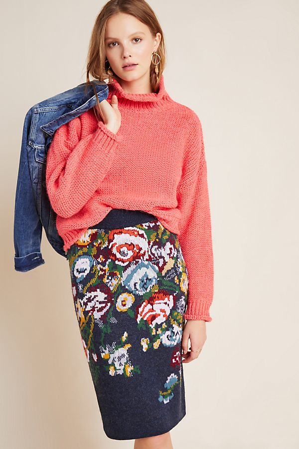 Slide View: 1: Skye Embroidered Knit Pencil Skirt