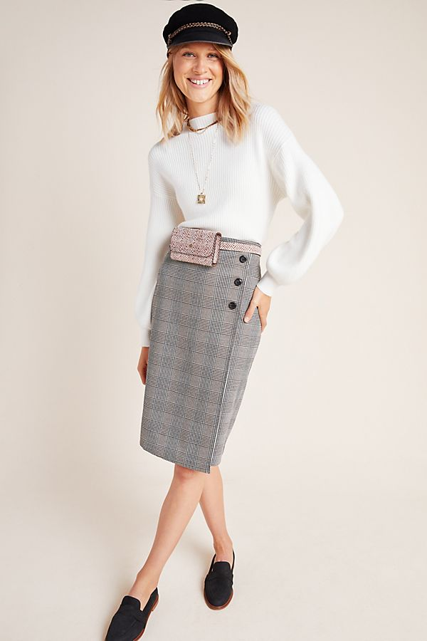 Slide View: 1: Sanctuary Plaid Pencil Wrap Skirt